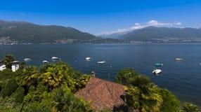 Zenna sjö Maggiore_Ticino, Schweiz Royaltyfria Foton