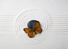 Zensteen met vlinder Royalty-vrije Stock Fotografie