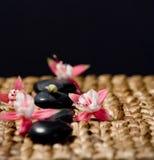Zensteine mit rosafarbenen Blumen auf einem Graslech Stockfotografie