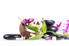 Zenstenen en kokosnoot Royalty-vrije Stock Afbeeldingen