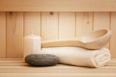 Zenstenen, relaationachtergrond in sauna Stock Afbeeldingen