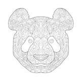 Zentagle ethnique Panda Head tiré par la main fleuri Illustration noire et blanche de vecteur de griffonnage d'encre Croquis pour Images stock