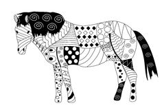 Zentagle style horse black and white on white background. Horse doodle zen art style black and white on white background in vector royalty free illustration