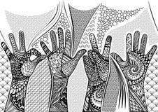 Zentandle gör en gest den sömlösa gränsen för händer Hand dragen klottervektorillustration Fotografering för Bildbyråer