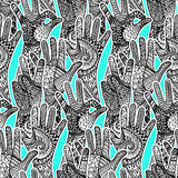 Zentandle gestures hands seamless pattern. Hand drawn vector doo Royalty Free Stock Photography