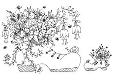 传染媒介例证有花的zentangl鞋子 乱画开花艺术的春天,夏天,蝴蝶,鞋带 书五颜六色的彩图例证 免版税库存照片