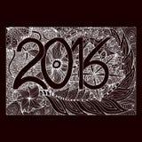 Zentangl-Blumen-Handabgehobener betrag nummeriert im Jahre 2016 vektor abbildung