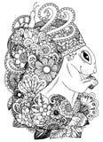Zentangl d'illustration de vecteur, écureuil avec des fleurs Dessin de griffonnage Effort de page de coloration anti pour des adu Photographie stock
