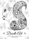Zentangl d'illustration de vecteur, écureuil avec des fleurs Dessin de griffonnage Effort de page de coloration anti pour des adu Images libres de droits
