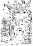 Zentangl da ilustração do vetor Ouriço e casa da garatuja dentro das cenouras Esforço da página da coloração anti para adultos Br ilustração royalty free