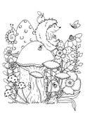 Zentangl da ilustração do vetor Rabiscar esforço da página da coloração do ouriço o anti para adultos Branco preto Imagem de Stock