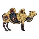 Zentangl et griffonnage peints par chameau tiré par la main de couleur Image stock