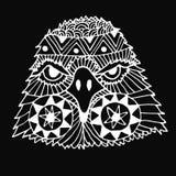 Zentangl et griffonnage peints par tête tirée par la main d'aigle Images stock