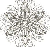 Zentangl stylizował kwiatu, czarny i biały wektor Obrazy Stock