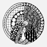 Zentangl woman in a round frame. Vector illustration zentangl woman in a round frame with flowers. Coloring for adult anti-stress. Black and white Royalty Free Stock Photography