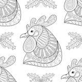 Zentangle与槲寄生无缝的样式的动画片雄鸡 免版税库存照片