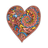Zentangle乱画与装饰品传染媒介的心脏爱 免版税库存照片