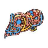 Zentangle乱画与装饰品传染媒介的心脏爱 免版税图库摄影
