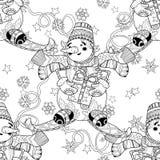 Zentangle乱画手拉的圣诞节雪人滑雪 免版税库存图片