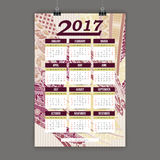 Zentangle五颜六色的日历2017手画仿照花卉样式和乱画样式 库存照片