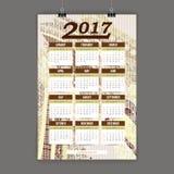 Zentangle五颜六色的日历2017手画仿照花卉样式和乱画样式 免版税库存照片