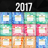 Zentangle五颜六色的日历2017手画仿照花卉样式和乱画样式 免版税库存图片