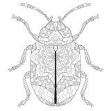 Zentangle传统化了甲虫 手拉的鞋带传染媒介例证 免版税库存照片