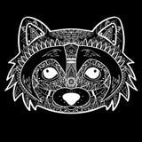Zentangle传统化了黑浣熊面孔 手拉的乱画传染媒介例证 纹身花刺的剪影 免版税库存图片
