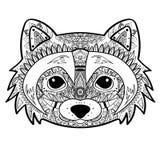 Zentangle传统化了黑浣熊面孔 手拉的乱画传染媒介例证 纹身花刺的剪影 图库摄影