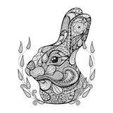 Zentangle传统化了兔子头在花圈的 手拉的乱画