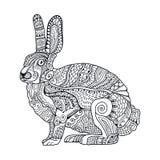 Zentangle传统化了兔子 复活节的手拉的葡萄酒乱画传染媒介例证 库存照片