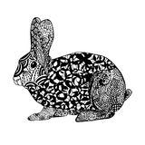 Zentangle传统化了兔子 纹身花刺或T恤杉的剪影 库存图片
