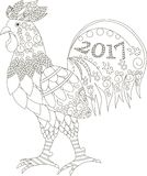 Zentangle传统化了公鸡, 2017年,黑白手拉 免版税库存图片