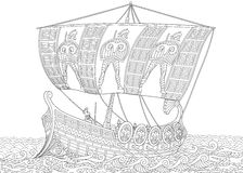 Zentangle传统化了古希腊船上厨房 向量例证