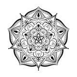Zentangle传统化了圆单色的坛场 手拉的patterne 库存照片