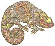 Zentangle传统化了多色的变色蜥蜴 免版税库存照片