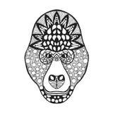 Zentangle传统化了大猩猩头 纹身花刺或T恤杉的剪影 免版税库存照片