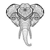 Zentangle传统化了大象头 纹身花刺或T恤杉的剪影 库存图片