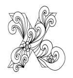 Zentangle传统化了字母表 在乱画样式的信件x 手拉的草图字体 库存图片