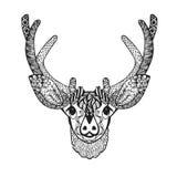 Zentangle传统化了小鹿 纹身花刺或T恤杉的剪影 库存图片