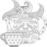 Zentangle传统化了有蒸汽和茶的装饰茶壶 免版税库存照片