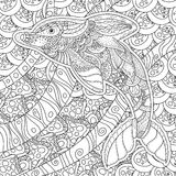 Zentangle传统化了海豚 成人反重音着色页 向量例证
