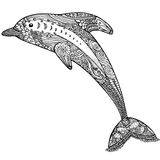 Zentangle传统化了海豚 成人反重音着色页 皇族释放例证