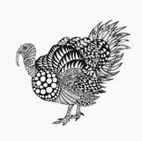 Zentangle传统化了火鸡 免版税库存照片