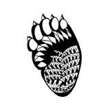 Zentangle传统化了熊掌 纹身花刺或T恤杉的剪影 图库摄影