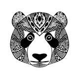 Zentangle传统化了熊猫 纹身花刺或T恤杉的剪影 免版税库存照片