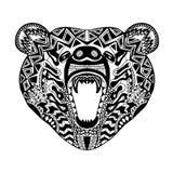 Zentangle传统化了熊 纹身花刺或T恤杉的剪影 皇族释放例证