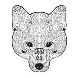 Zentangle传统化了狐狸头 纹身花刺或T恤杉的剪影 库存照片