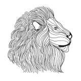 Zentangle传统化了狮子头 纹身花刺或T恤杉的剪影 免版税库存照片