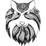 Zentangle传统化了狼 成人反重音着色页 库存例证